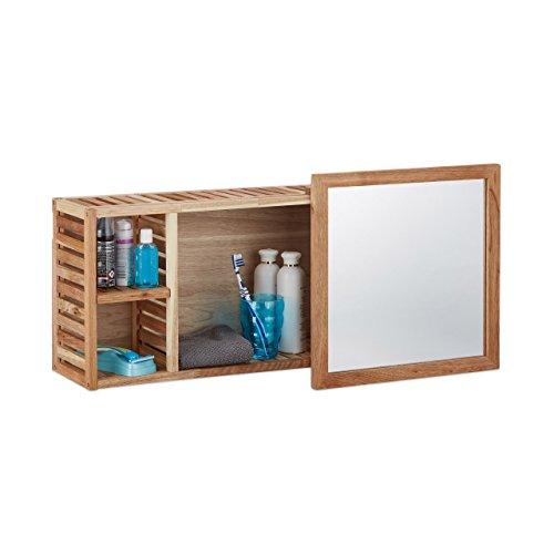 #Relaxdays Wandregal mit Spiegel, Walnuss, verschiebbarer Spiegel, geöltes Holz, 80 cm breit, besonders fürs Badezimmer, natur#