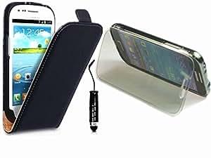 Vandot 3 in1 Samsung Galaxy S3 mini i8190 Schutzhülle Zubehör Set Silikon TPU S-Line Case + Leder Flip Tasche Cover Hülle Schutz + Bling Mini Stift Touch Pen Stylus mit Anti Staub Stöpsel - Schwarz