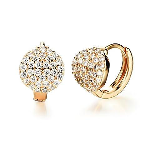 [M. jvisun] 18K jaune diamant plaqué or oxyde de zirconium taille S Stud Boucles d'oreilles créoles pour femme, ton doré