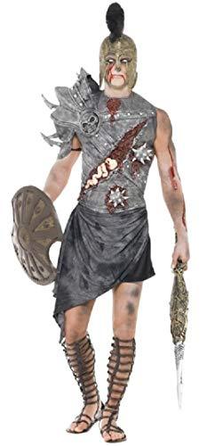 Kostüm Zombie Soldat - Fancy Me Herren Zombie Römischer Gladiator Halloween Antike Krieger Soldat Kämpfer Kostüm Kleid Outfit - grau, L