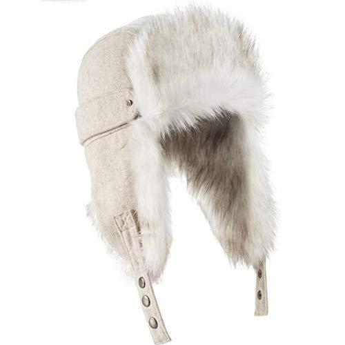 CLX Wintermütze Skimütze Flieger-Mütze Mit Teddyfell | Herren Damen Unisex Größe,Weiß