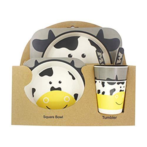 5pcs / Set Vajilla Niños,GZQ,Juegos de vajilla Animal para comer,cubiertos y tazon Fibra de bambú Natural bebé e Infantil (Vaca)