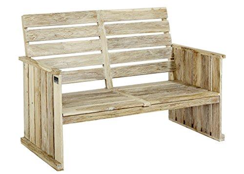 Strandgut07 2-Sitzer Bank, Teakholz recycelt, white wash, Massivholz, Shabby chic Look, circa 130 cm breit
