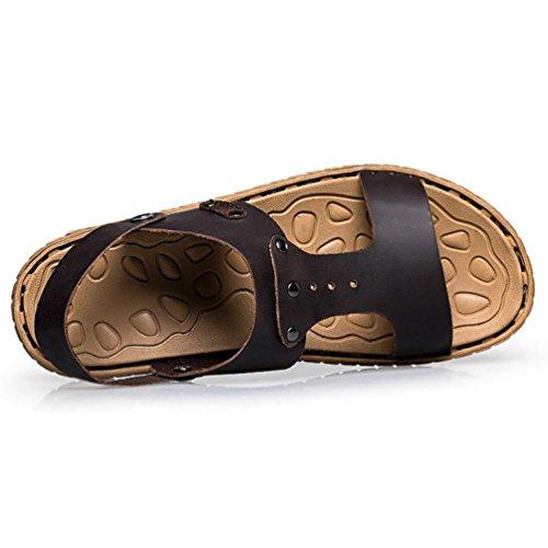 SHANGXIAN Herren original Flip Flops im Sommer Casual Ledersandalen (zwei Arten von Tees) Dark Brown