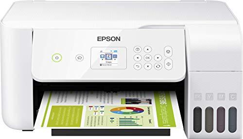 Epson EcoTank ET-2726 nachfüllbares 3-in-1 Tintenstrahl Multifunktionsgerät (Kopierer, Scanner, Drucker, DIN A4, WiFi, USB 2.0, großer Tintentank, hohe Reichweite, niedrige Seitenkosten) weiß