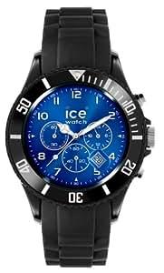 ICE-Watch - Montre Mixte - Quartz Analogique - Chrono - Black - blue - Big - Cadran Bleu - Bracelet Silicone Noir - IB.CH.BBE.B.S.11