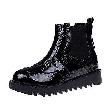 Rtry Chaussures Pu La Chute Bottes Talon Plat Bout Rond Casual Noir Us6 / Eu36 / Uk4 / Cn36 Us8.5 / Eu39 / Uk6.5 / Cn40