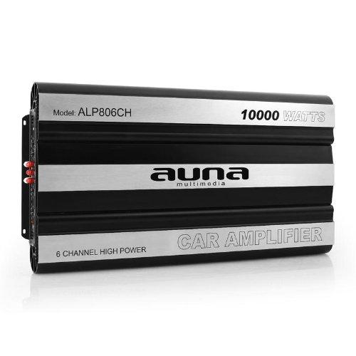 auna ALP806CH CAR HiFi Verstärker Endstufe (Leistung: 10.000W max., Hoch- und Niedrigpegel-Eingänge, regelbarer Tiefpass-Filter, Frequenzbereich: 20 Hz bis 20 kHz, Impedanz: 4 bis 16 Ohm, brückbar) grau-silber