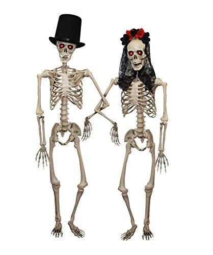ILOVEFANCYDRESS Skelett Paar=Ein Gruseliges HOCHZEITSPAAR=2 PLATZIERBARE Skelette -152cm Rote Leuchtenden Augen (Batterie ERFORDERLICH )+ Zylinder+Schwarzen Schleier MIT Blumen +Plastik Rosen - Strauß Kostüm Paar