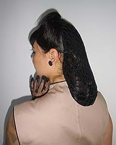 Filet snood à cheveux noir accessoire coiffure retro vintage en crochet fait main handmade pinup style