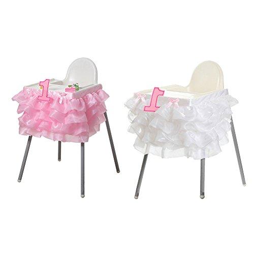 Tisch Rock Cover Baby Dusche 1. Geburtstag Dekor Baby Stuhl Rock handgefertigt, Hochzeit & Home Dekoration (weiß und Pink) ()