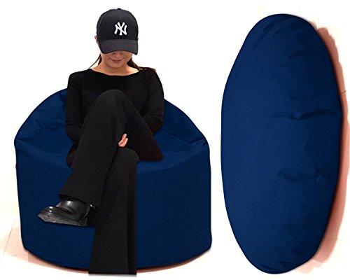 Sitzsack 2 in 1 Sitzbag Größe S-M-L-XL-XXL-XXXL-XXXXL mit Styropor Füllung - In & Outdoor - verschiedene Farben & Größen - Bean Bag Sitzkissen Bodenkissen Hocker Kinder Sitzsäcke Möbel Kissen Sessel Sofa (XL = ca.125cm Rund Durchmesser, Marine/Blau)