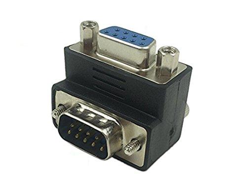 CERRXIAN 90 Grad DB9 9 Pin Stecker auf Buchse Verlängerungskabel Konverter Adapter Koppler -