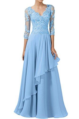 Victory colore emanano una serata vestimento ball vestimento punta a maniche lunghe Scollo a V lunga Chiffon sposa madre festa vestimento madre festa abiti da sposa Blau