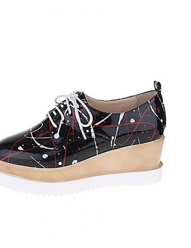 ZQ Scarpe Donna - Ballerine - Tempo libero / Casual - Plateau / Punta arrotondata - Piatto - Finta pelle - Nero / Bianco , white-us8.5 / eu39 / uk6.5 / cn40 , white-us8.5 / eu39 / uk6.5 / cn40 white-us5 / eu35 / uk3 / cn34