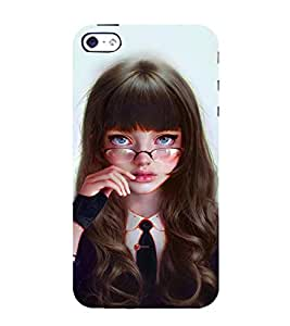 FUSON Silly Girl With Glasses 3D Hard Polycarbonate Designer Back Case Cover for Apple iPhone 5S