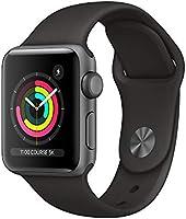 Apple Watch Series 3 (GPS, 38‑mm) kast van spacegrijs aluminium zwart sportbandje