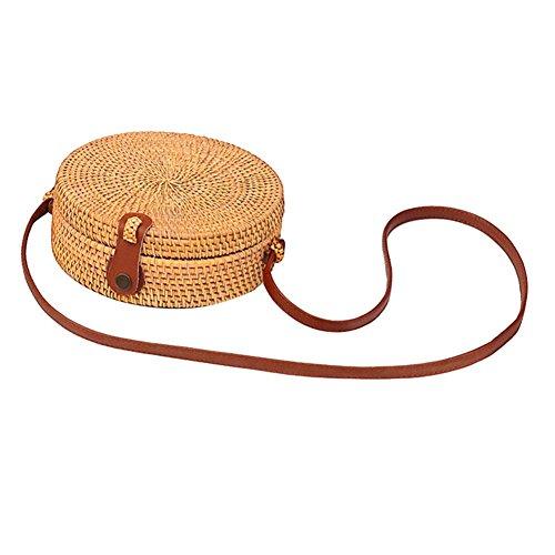 Runde Rattan Korb Strandtasche, Hand Tote Bag mit Ledergriff geflochten Frauen Tote Bag Chic Retro Sommer Strand Handtasche Boho Style für Frauen/Mädchen -