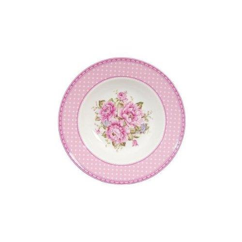 ERBO Clayre & Eef - Ciotola / Bacino - Piatto - Fiori rosa grandi ca. Ø 21 cm