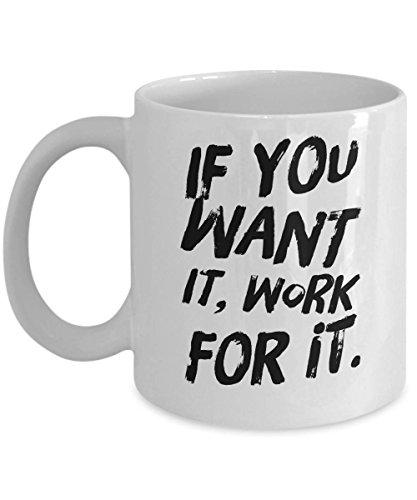 Mike21Browne Arbeite hart Kaffee-Haferl American Made White Cup Motivations-Zitat, wenn du willst, DASS es f¨¹r ihn arbeitet 11oz 11oz (American Made Mikrowelle)
