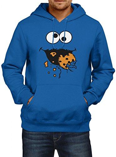 Kostüm Krümelmonster Premium Hoody | Verkleidung | Karneval Hoodies | Fasching | Herren | Kapuzenpullover, Farbe:Dunkelblau;Größe:5XL (Billig Cookie Monster Kostüm)