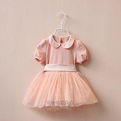 XIAOHUAHUA Sommer Mädchen-Kleid, mit Kragen, Short Sleeved, Kleid, Spitze und der, Wagen Garn, Baumwolle, kurze Sleeved Kleid, rose, 51 cm (Spitze Garn, Baumwolle,)
