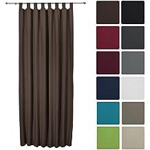 Beautissu Cortina térmica con bucles lazos Amelie - 140x245 cm Marrón - Aislante y elegante - Diversos colores