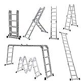 Mehrzweck-Leiter, zusammenklappbar, 4 m, Aluminium, ausziehbar, Sicherheits-Stufen, Kombi-Leiter, klappbar, leicht, Scharniere, 330 kg Kapazität EN 131 Standard, mit einem Werkzeugablage