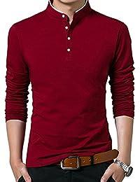 Mocotono Polo Manga Larga con Cuello Mao Golf Camiseta para Hombre