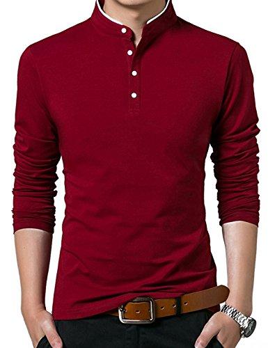 Mocotono Herren Elegant Polo Shirts Polohemd Slim Fit Langarm Hemd Männer  Freizeit Haushemd Rot