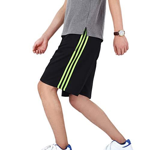 Herren Streifen Sports Shorts Elastische Taille Gerade Hosen mit Kordelzug Reißverschluss Tasche Sommer Sportswear Lose Kurze Cargohose -