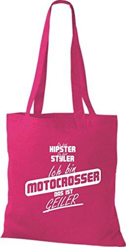 Shirtstown Stoffbeutel du bist hipster du bist styler ich bin Motocrosser das ist geiler fuchsia
