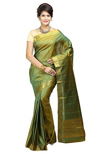 Mimosa Women'S Art Kanchipuram Silk Saree With Blouse,Color:Gold(3205-DVN-GRN-GLD)