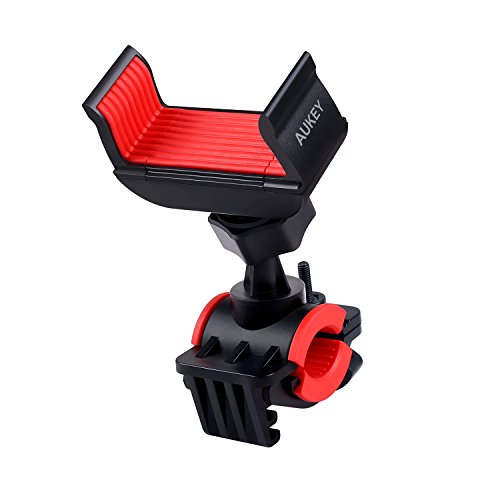 AUKEY Supporto Bici Smartphone Universale Rotabile a 360 gradi Cinturino in Gomma Porta Telefono Bici per iPhone 7/7 Plus/6S/6/6 Plus/5, Samsung S8, HUAWEI, ZTE, GPS, etc