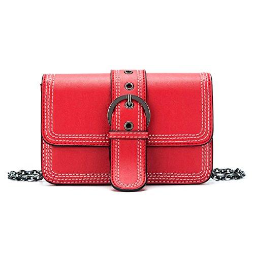 Damen Red Flap Bag, Sommer neue Kette Mini kleine quadratische Tasche, Fashion One Schulter Messenger Bag (Farbe : Red)