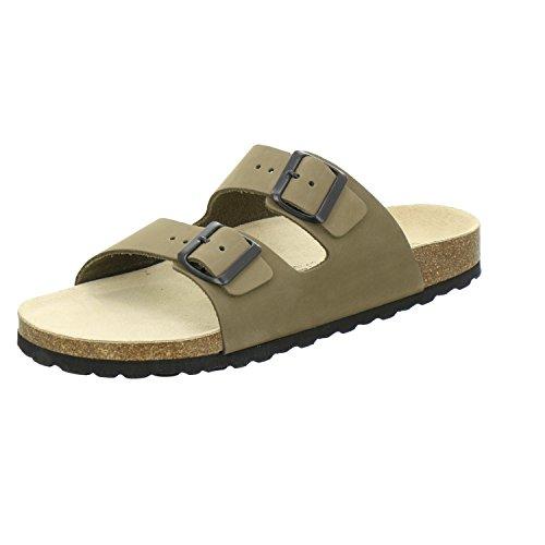 AFS-Schuhe 3100 Bequeme Leder Pantolette für Herren, Hausschuhe Arbeitsschuhe Größe 45 Grün (Khaki) (Schwarz Leder Khaki)