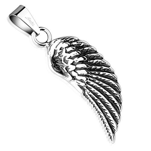 Bungsa® Catena con ciondolo a forma di ali d'angelo, argento, pendente in acciaio chirurgico, per donna e uomo, stile biker, angelo, gothic