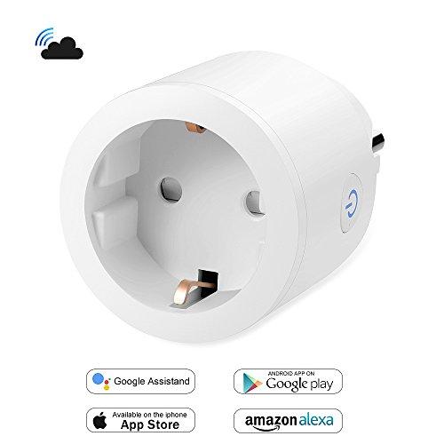 Enchufe WiFi Inteligente Inalambrico Control Remoto 16A Compatible con Alexa Google Home Asistente, BricoPlus Usar App Controlar Consumo Energía de Electrodomesticos Interruptor Temporizador[1Pack]