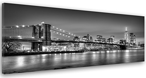 Feeby Frames, Tableau imprimé XXL, Tableau imprimé sur Toile, Tableau Deco, Canvas 50x150 cm, Blanc, Gratte-Ciel, IMMEUBLES, Architecture, Eau, Noir ET Pont DE Brooklyn, À New York