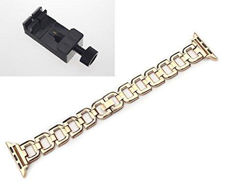 chofit–Correas de repuesto para iWatch, elegante acero inoxidable pulsera ajustable pulsera con una herramienta para iWatch 38mm, 42mm, oro rosa