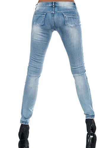 N268 Damen Jeans Hose Hüfthose Damenjeans Hüftjeans Röhrenjeans Röhrenhose  Röhre Blau