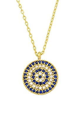 Necklace with Pendant 'Evil Eye' - Gold Colour - Sparkling Rhinestones by Remi Bijou