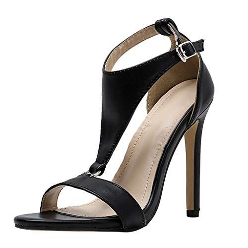 Sandalen Damen Sommer Omingkog Joker Sandalen mit hohen Absätzen Fesselriemen Schuhe Peeptoe Sandalen Freizeit Hochhackige (Asiatische Joker Kostüm)