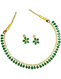 Geode Delight Gold Plated American Diamond Necklace Set With Earrings For Women And Girls