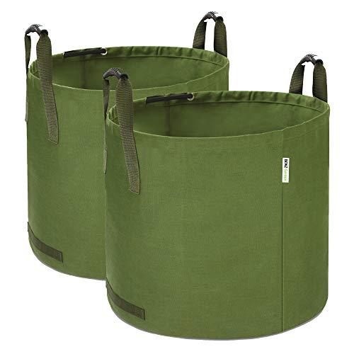 BENZ Garden® 125L Gartenabfallsack Laubsack aus robustem Leinengewebe | schwerlast Gartensack | zusammenfaltbar | vielseitig einsetzbar | Gartentasche Rasensack (2X 125 Liter)