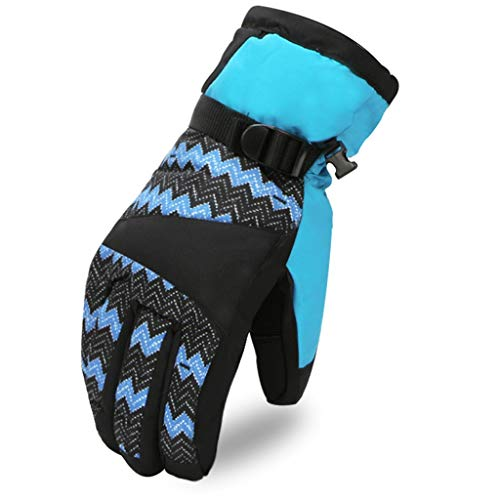 Winter Warm Gepolsterte Motorrad Reiten Fahrrad Plus Samt Plus Baumwolle Kalt Und Winddicht Outdoor Ski Handschuhe, Geeignet Für Motorrad/Klettern/Reiten/Skifahren (Farbe : Blue (Female)) -