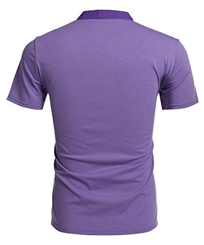 Aulei Herren Poloshirt slim fit Stehkragen fashion casual T-Shirt Unifarbe kurzarm Hemd Lila