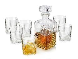 Whiskyglas Set mit Karaffe und Deckel von Bormioli Dekanter Kristallglas, 1Liter Karaffe, 280ml Glas