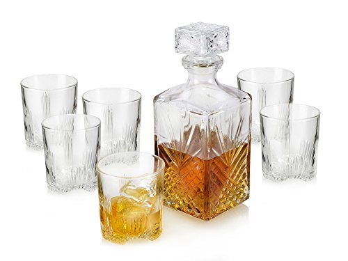whiskyglas set mit karaffe und deckel von bormioli dekanter kristallglas 1liter karaffe 280ml. Black Bedroom Furniture Sets. Home Design Ideas