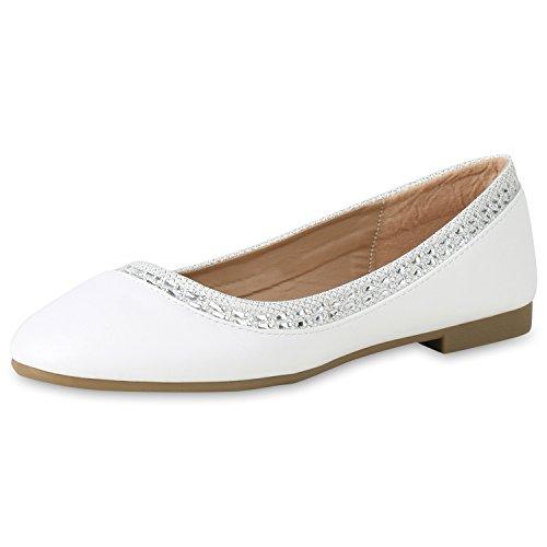 SCARPE VITA Klassische Damen Ballerinas Glitzer Strass Slipper Slip Ons Schuhe 156564 Weiss Glitzer 40